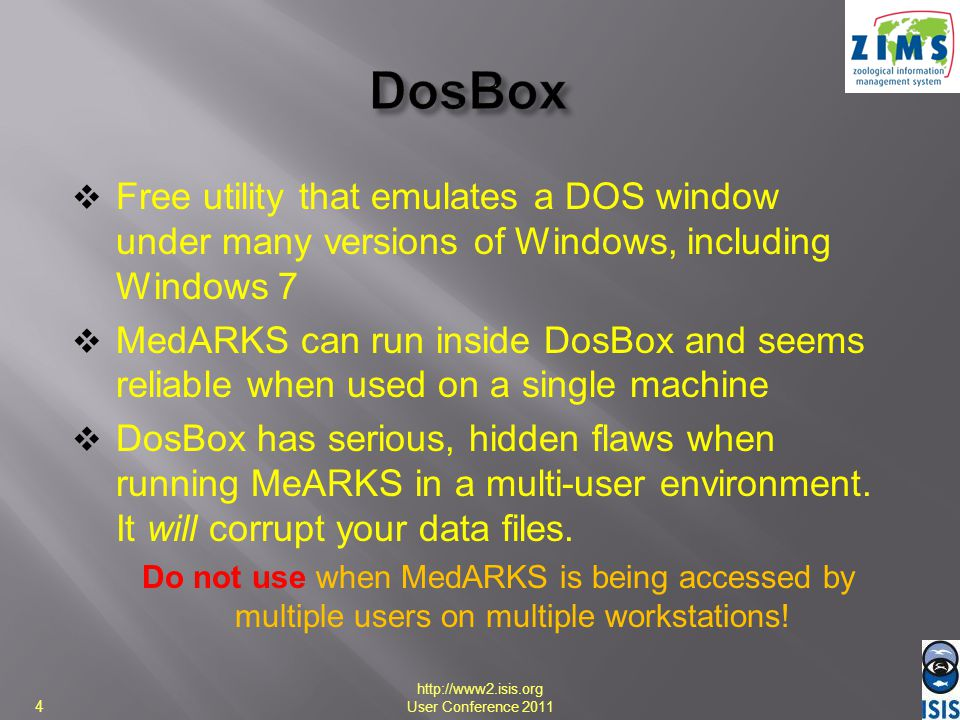 DosBox Free utility that emulates a DOS window under many versions of Windows, including Windows 7.