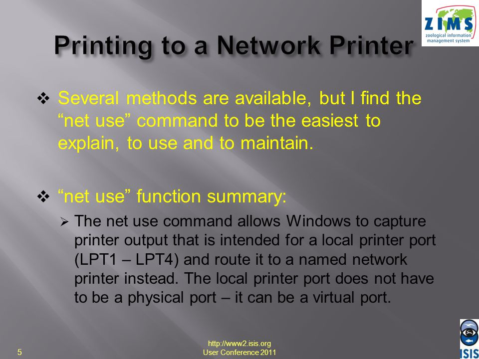 Printing to a Network Printer