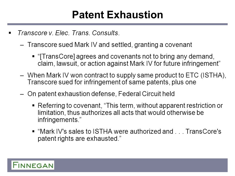 Patent Exhaustion Transcore v. Elec. Trans. Consults.