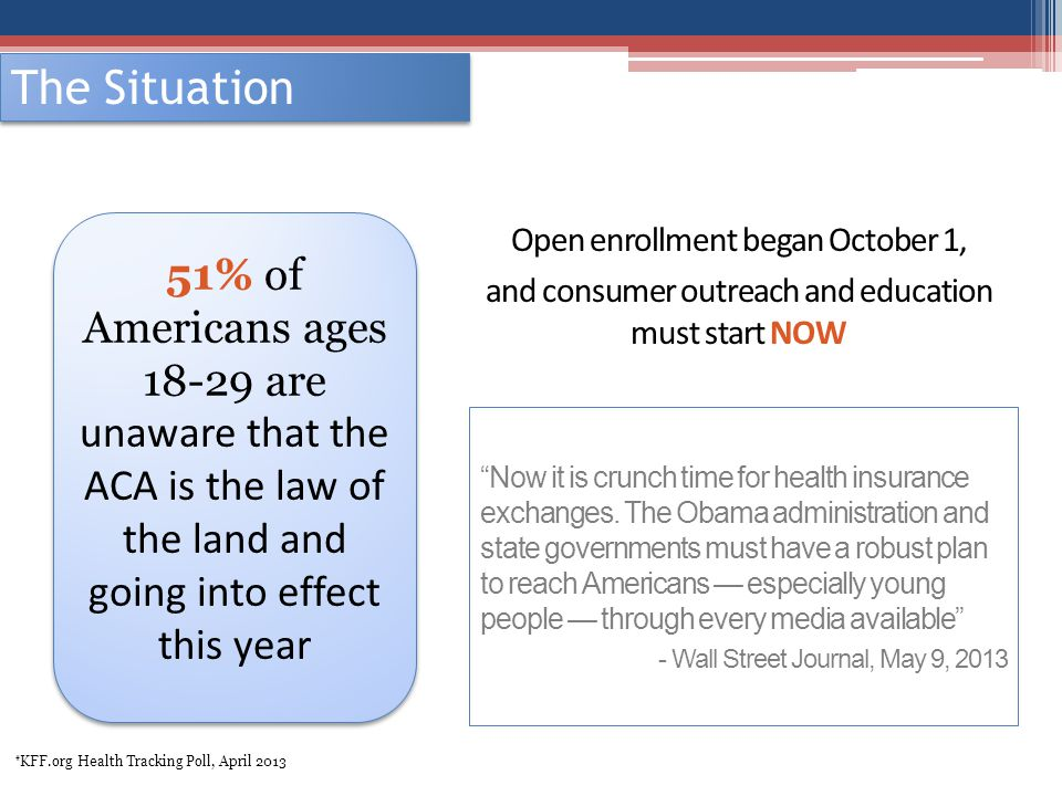 The Situation Open enrollment began October 1, and consumer outreach and education must start NOW.