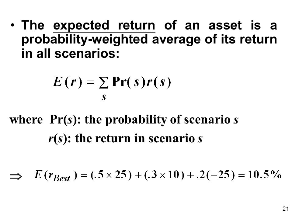 The expected return of an asset is a probability-weighted average of its return in all scenarios: