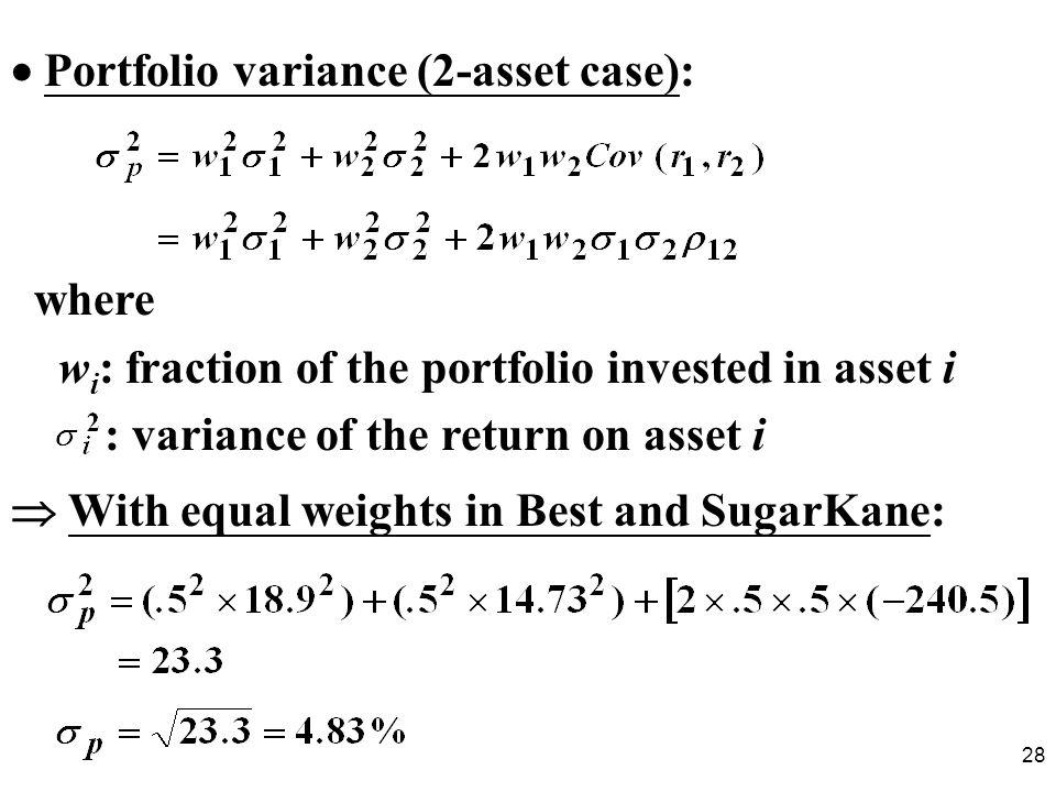  Portfolio variance (2-asset case):