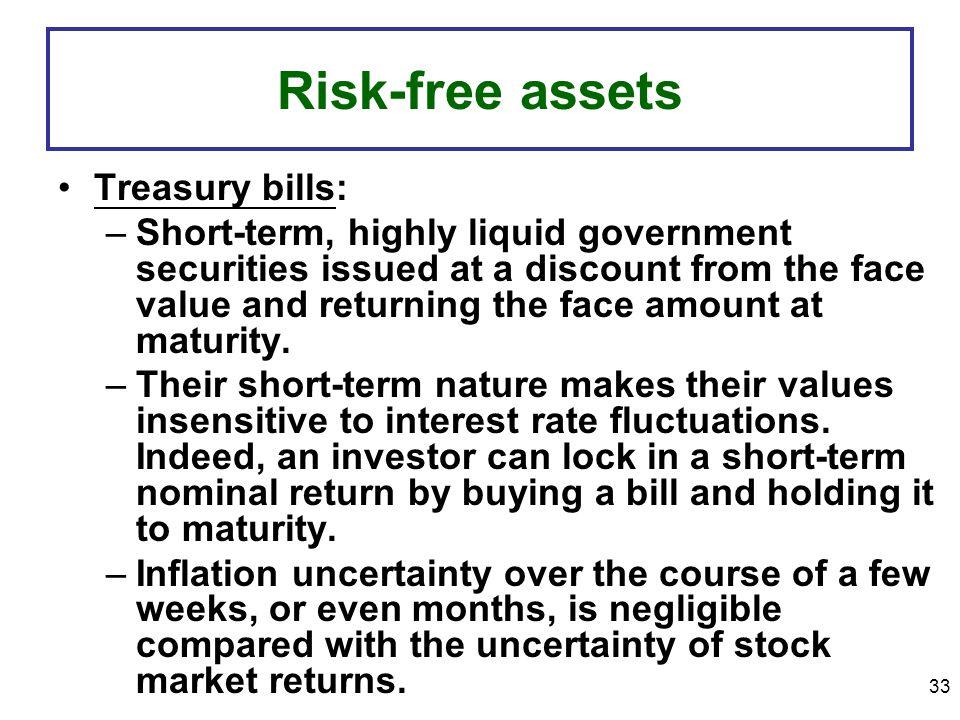 Risk-free assets Treasury bills: