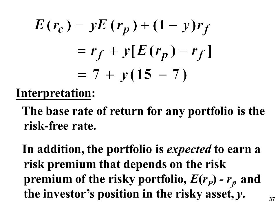 Interpretation: The base rate of return for any portfolio is the risk-free rate.