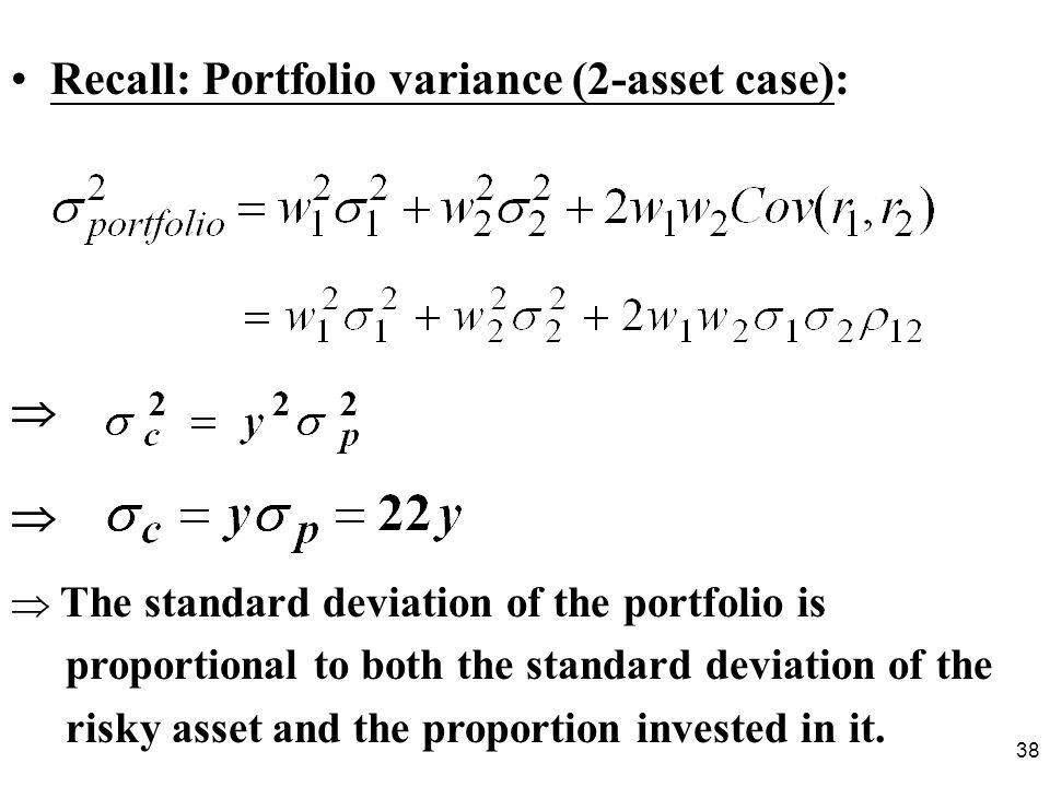 Recall: Portfolio variance (2-asset case):