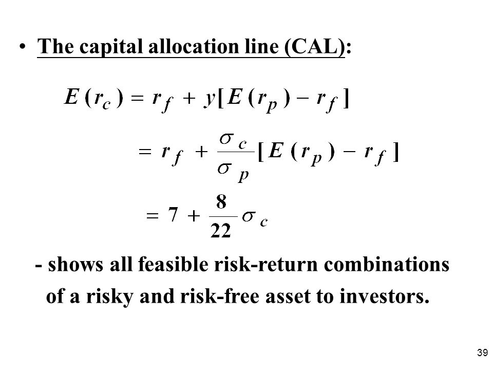 The capital allocation line (CAL):