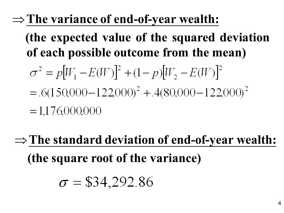 The variance of end-of-year wealth: