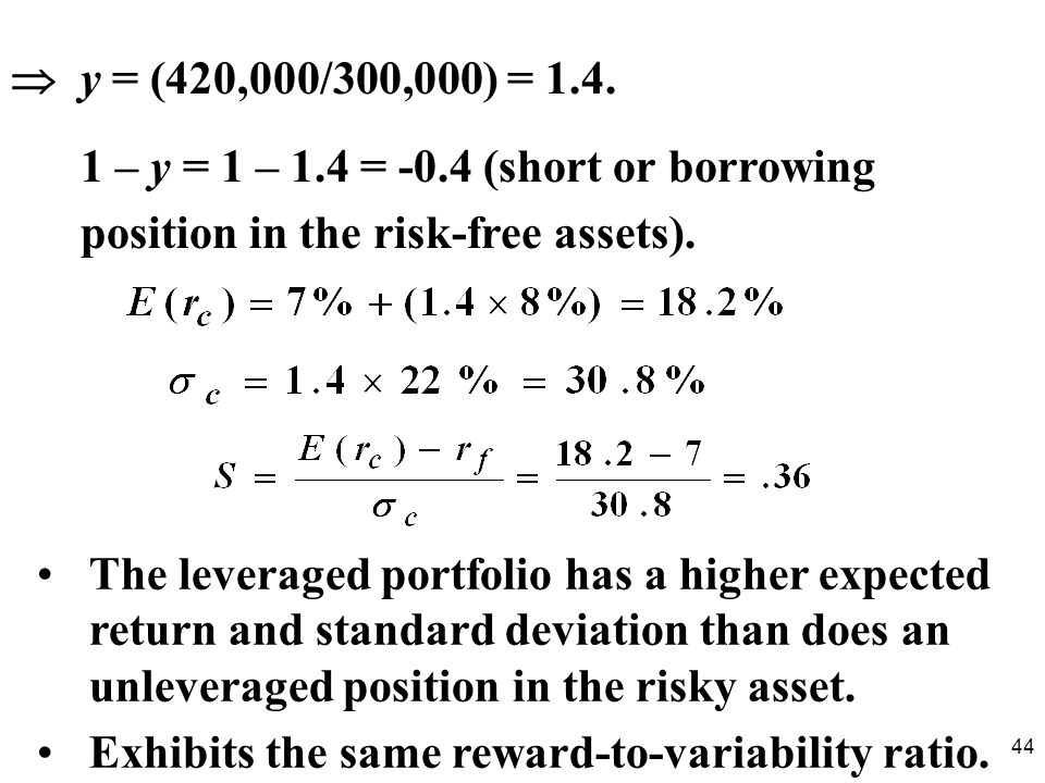  y = (420,000/300,000) = 1.4. 1 – y = 1 – 1.4 = -0.4 (short or borrowing. position in the risk-free assets).