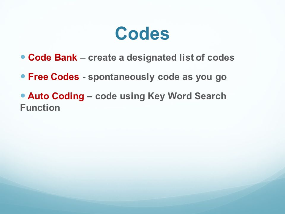 Codes Code Bank – create a designated list of codes