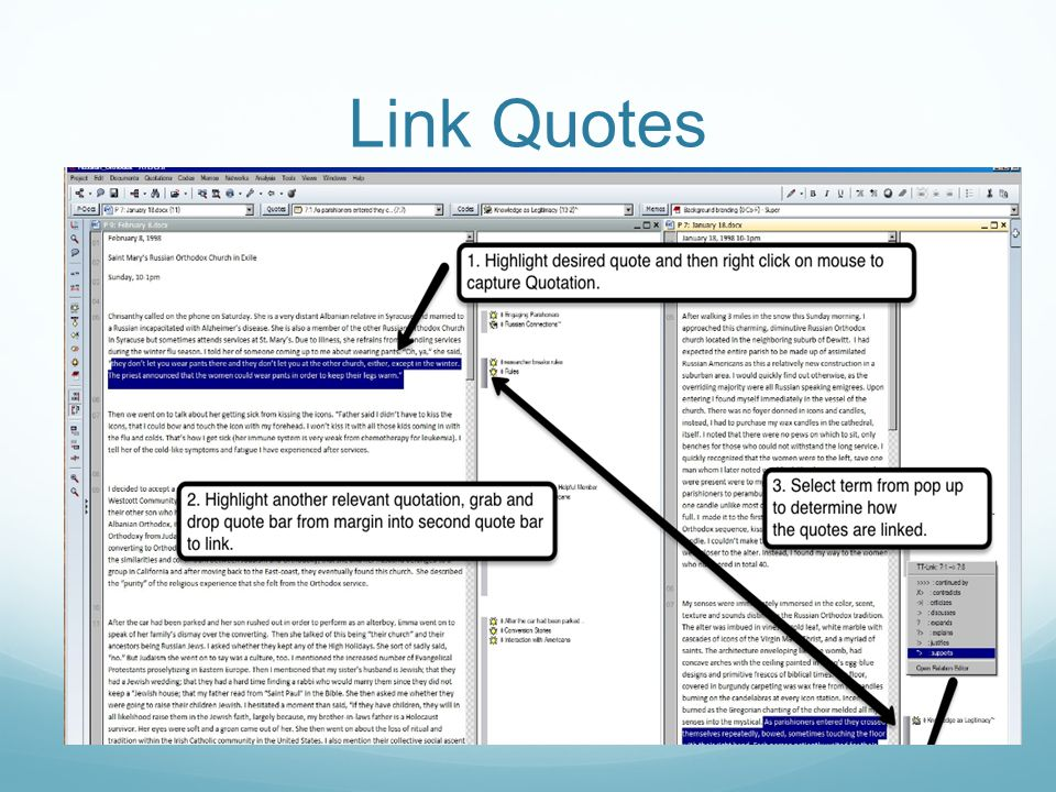Link Quotes In the right margin, drag selected quote bar into another quote bar.