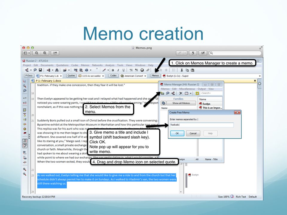 Memo creation Click on Memos manager button Memo Manager pops up