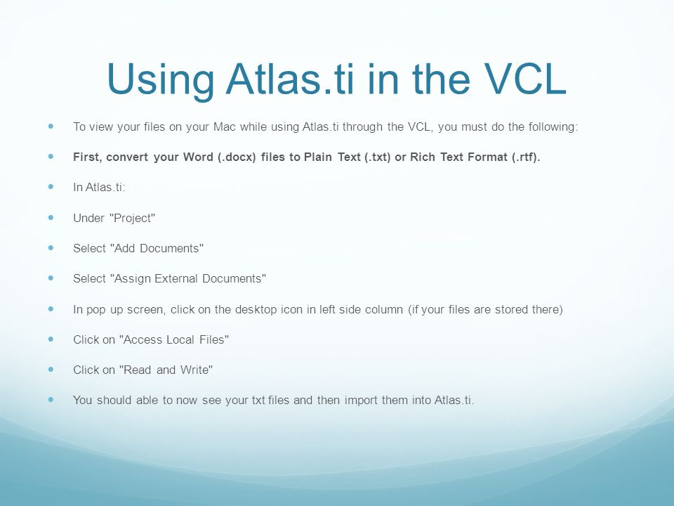 Using Atlas.ti in the VCL