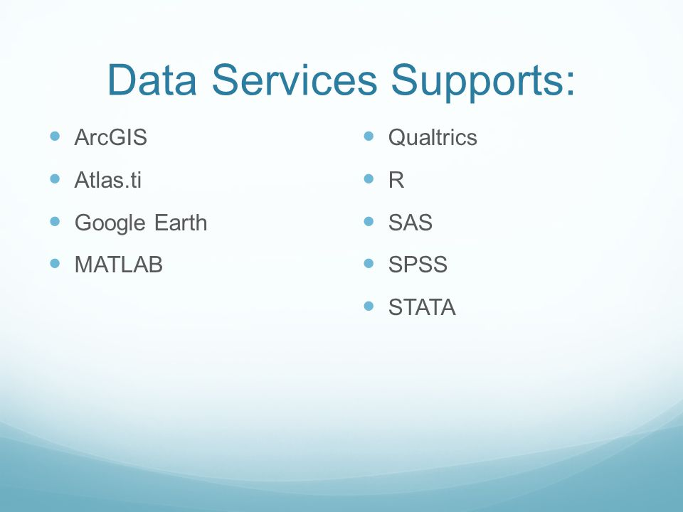 Data Services Supports:
