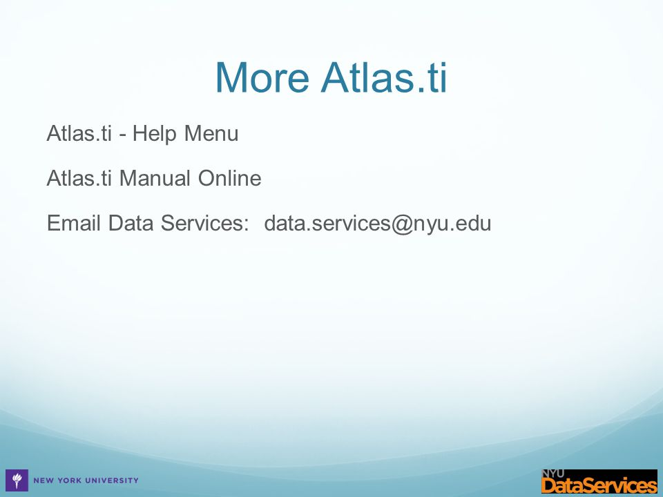 More Atlas.ti Atlas.ti - Help Menu Atlas.ti Manual Online