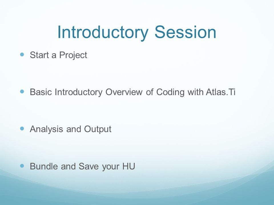 Introductory Session Start a Project