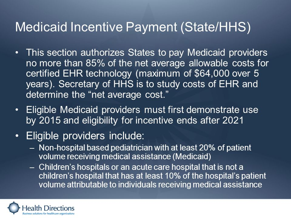 Medicaid Incentive Payment (State/HHS)