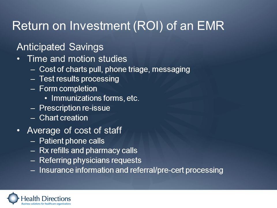 Return on Investment (ROI) of an EMR
