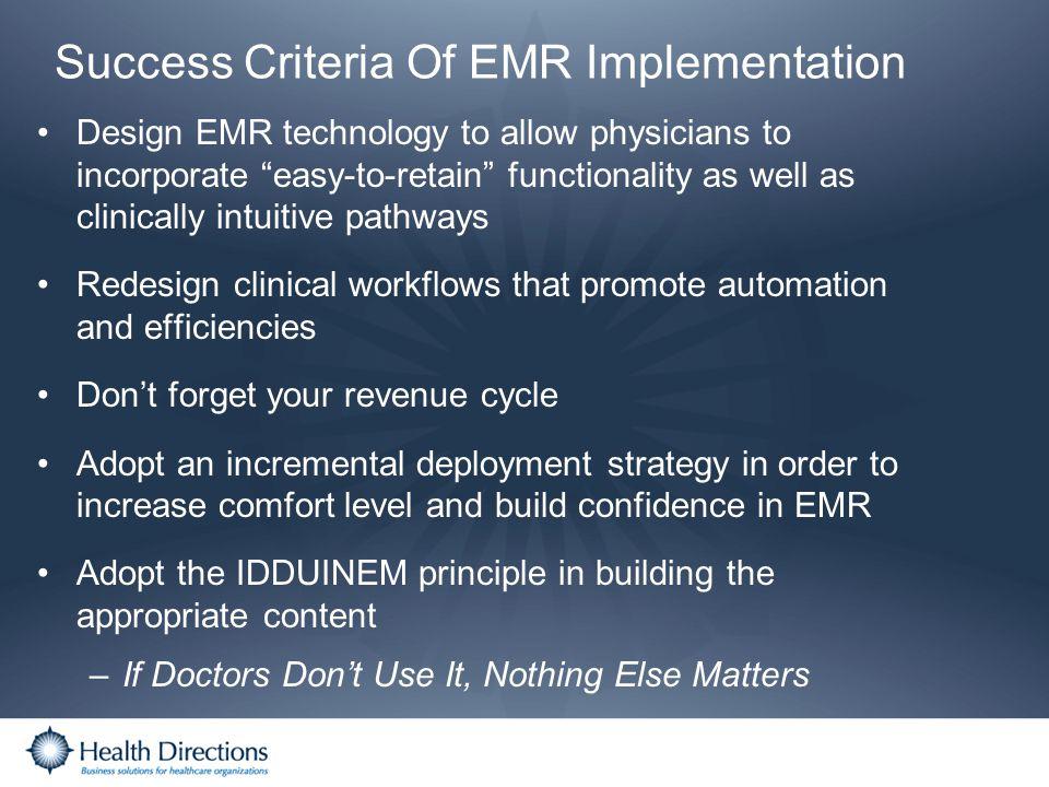 Success Criteria Of EMR Implementation