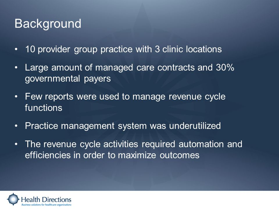 Background 10 provider group practice with 3 clinic locations