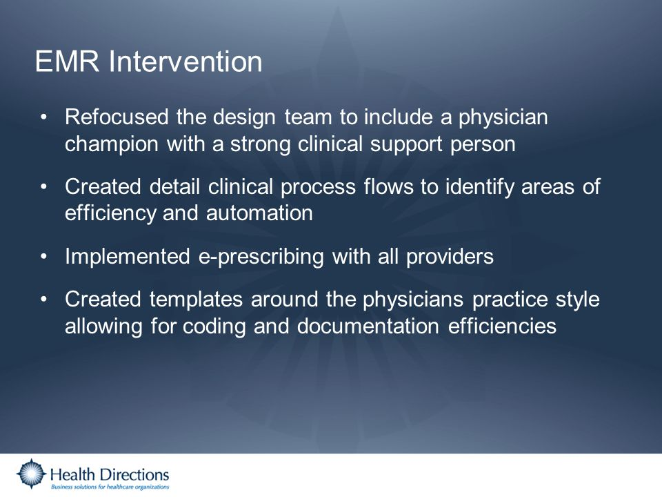 EMR Intervention Refocused the design team to include a physician champion with a strong clinical support person.