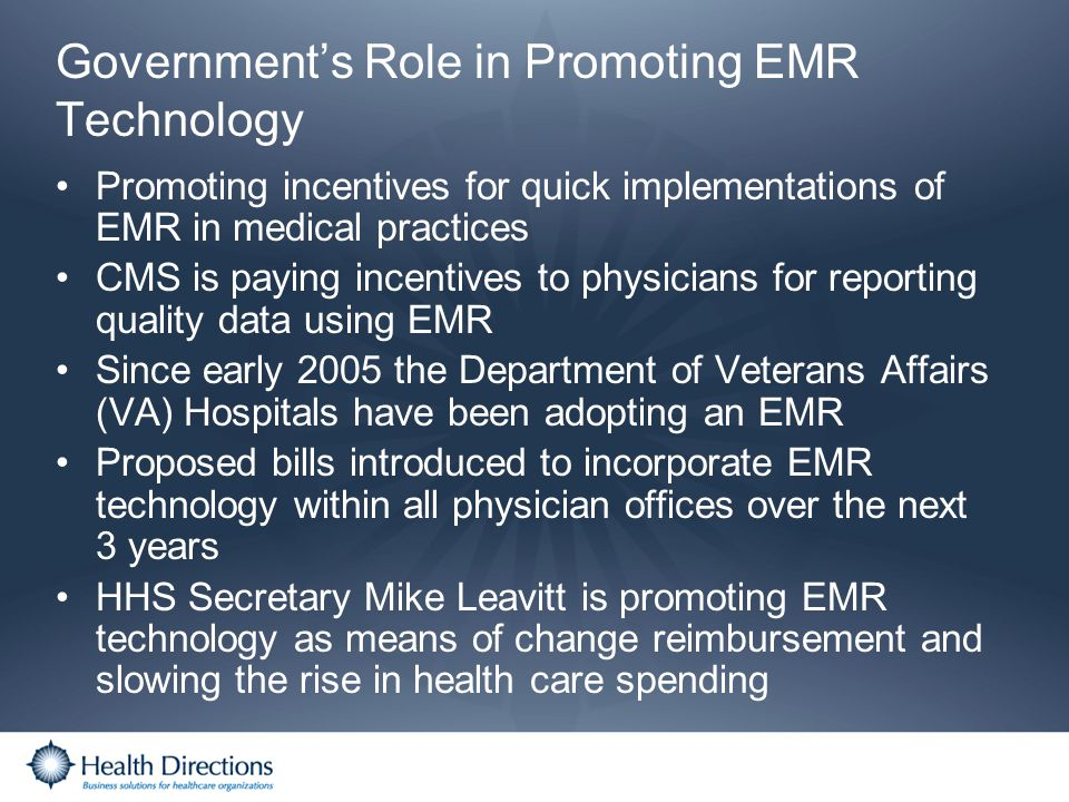 Government's Role in Promoting EMR Technology