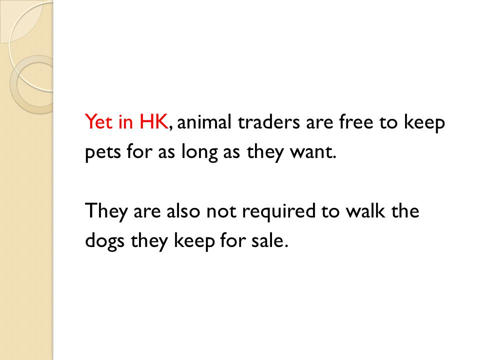 Yet in HK, animal traders are free to keep pets for as long as they want.