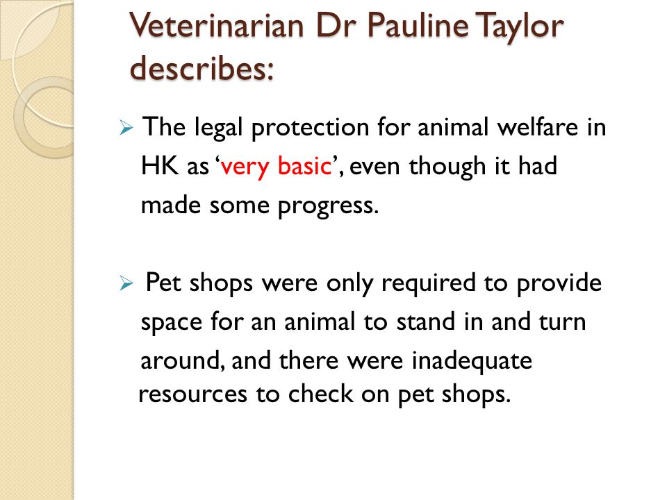 Veterinarian Dr Pauline Taylor describes: