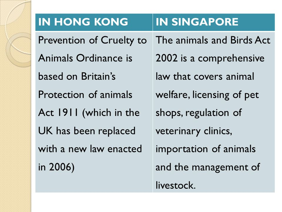 IN HONG KONG IN SINGAPORE. Prevention of Cruelty to. Animals Ordinance is. based on Britain's. Protection of animals.