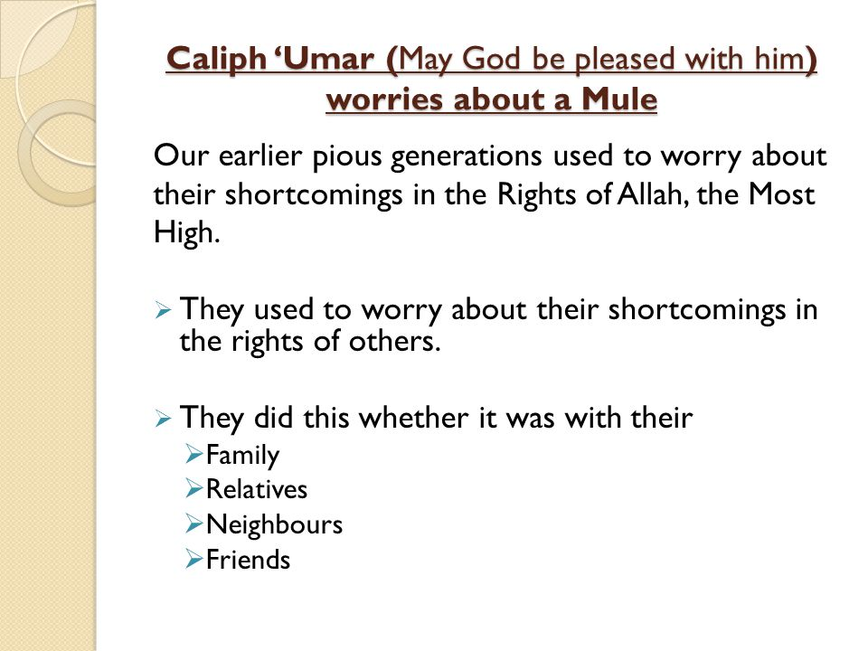 Caliph 'Umar (May God be pleased with him) worries about a Mule