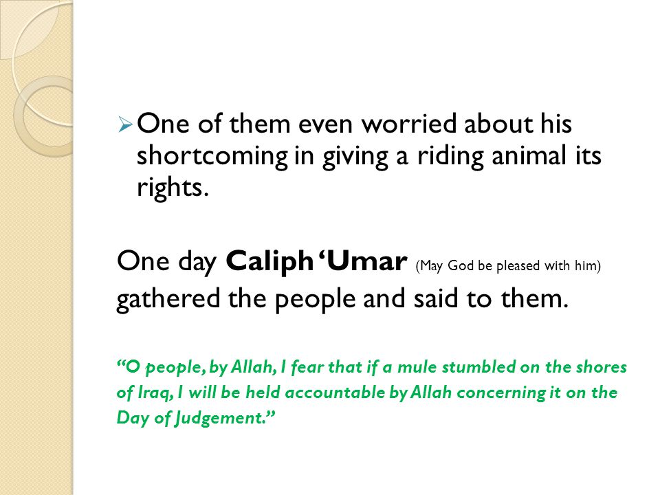 One day Caliph 'Umar (May God be pleased with him)