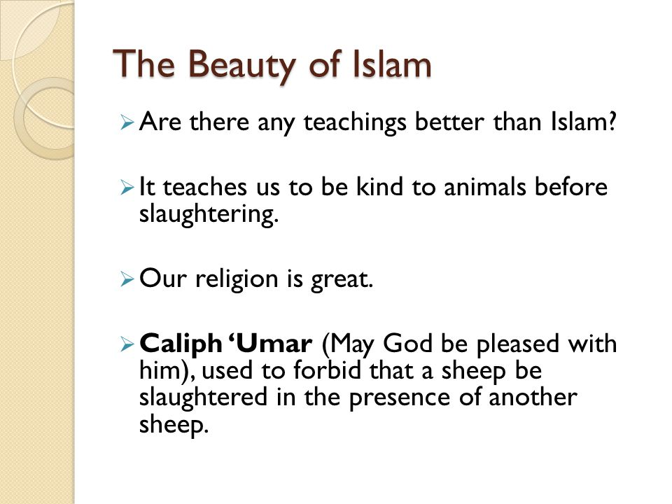 The Beauty of Islam Are there any teachings better than Islam