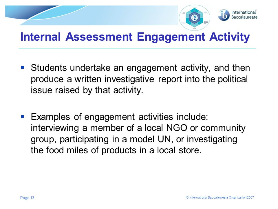 Internal Assessment Engagement Activity