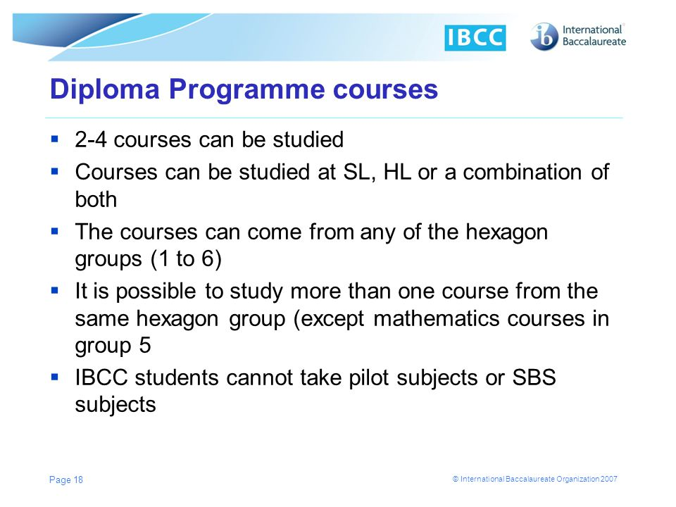 Diploma Programme courses