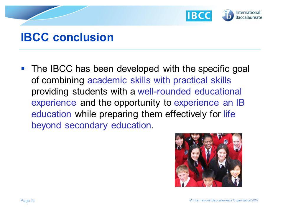 IBCC conclusion