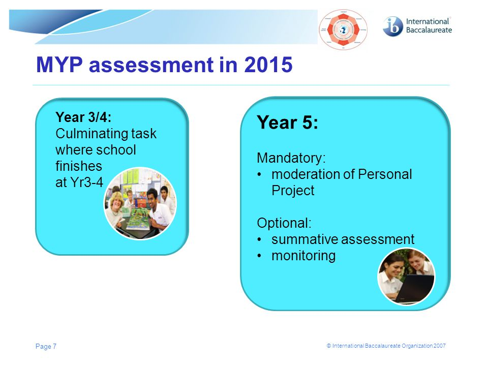MYP assessment in 2015 Year 5: Year 3/4: