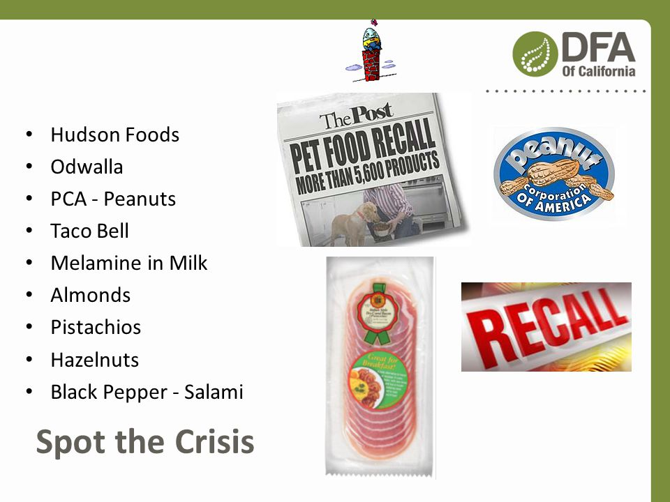 Spot the Crisis Hudson Foods Odwalla PCA - Peanuts Taco Bell