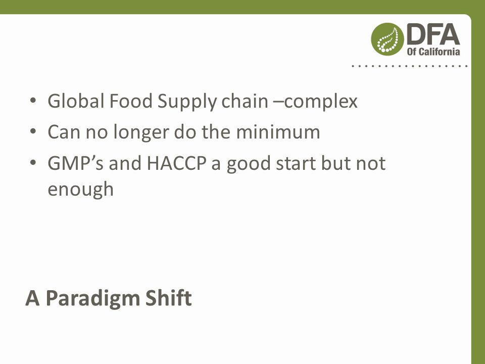 A Paradigm Shift Global Food Supply chain –complex