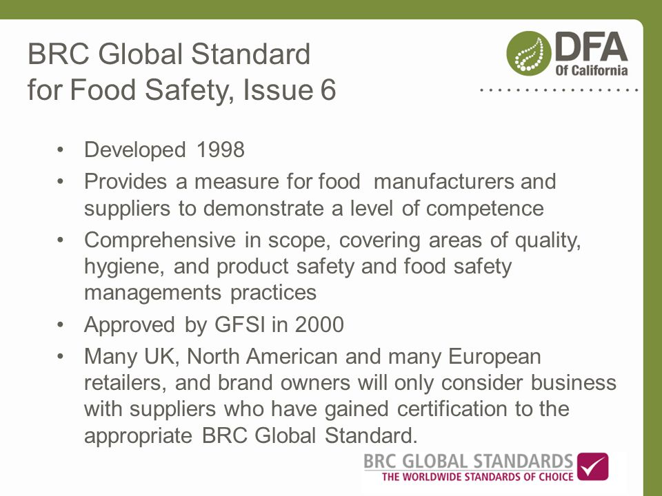 BRC Global Standard for Food Safety, Issue 6