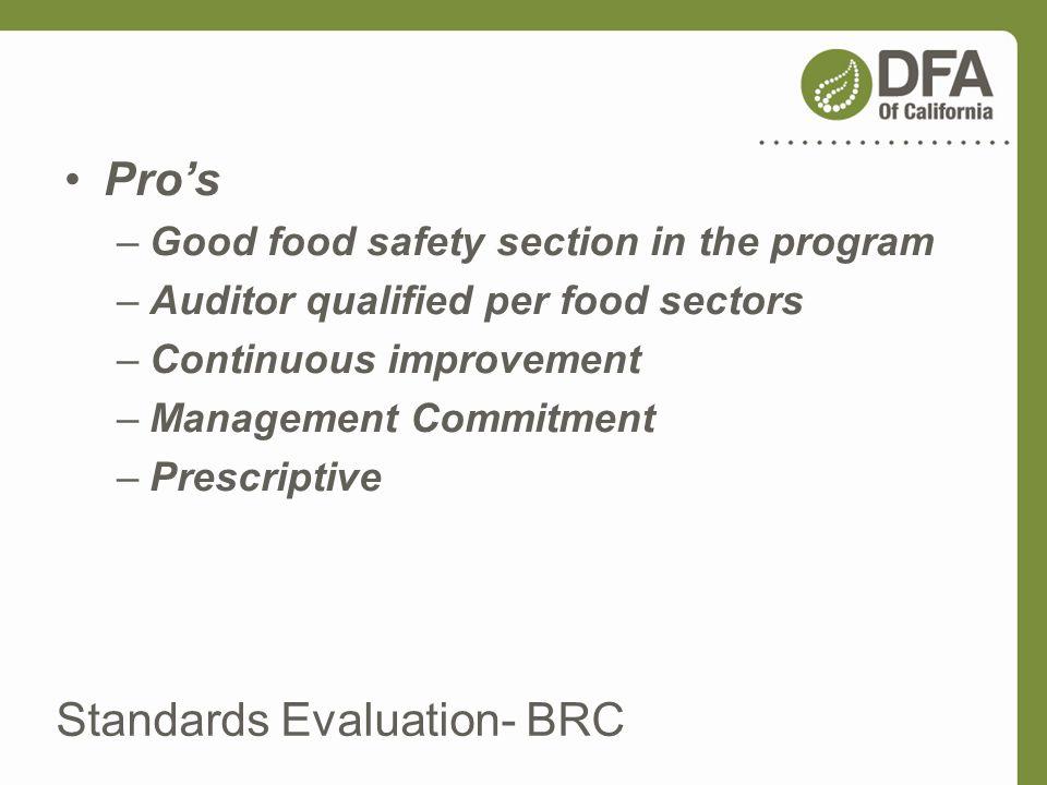 Standards Evaluation- BRC