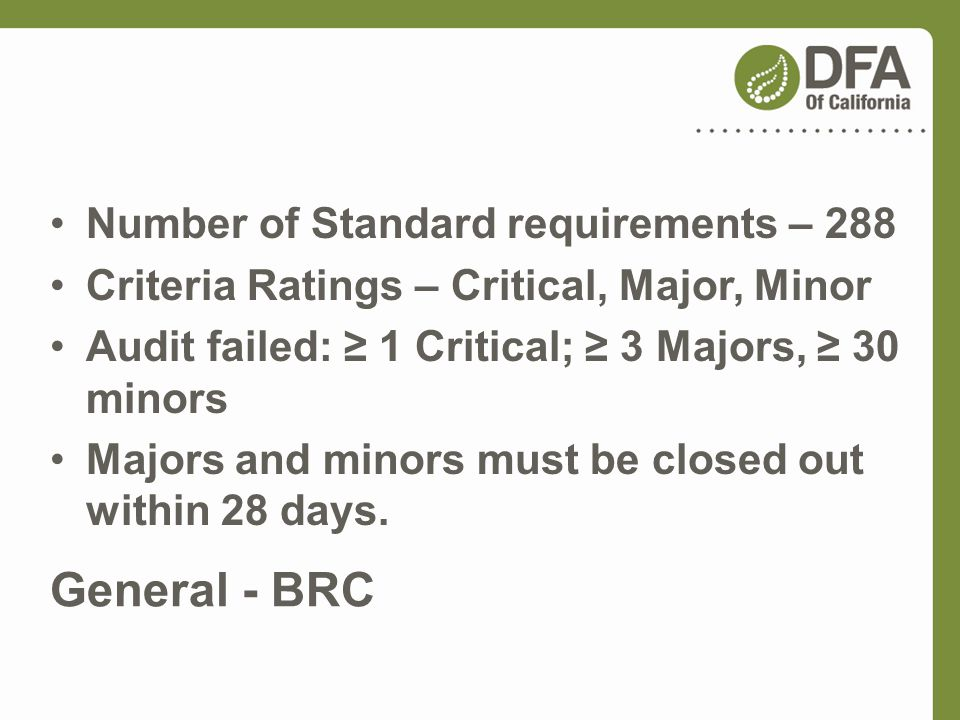 General - BRC Number of Standard requirements – 288