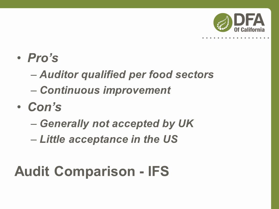 Audit Comparison - IFS Pro's Con's Auditor qualified per food sectors