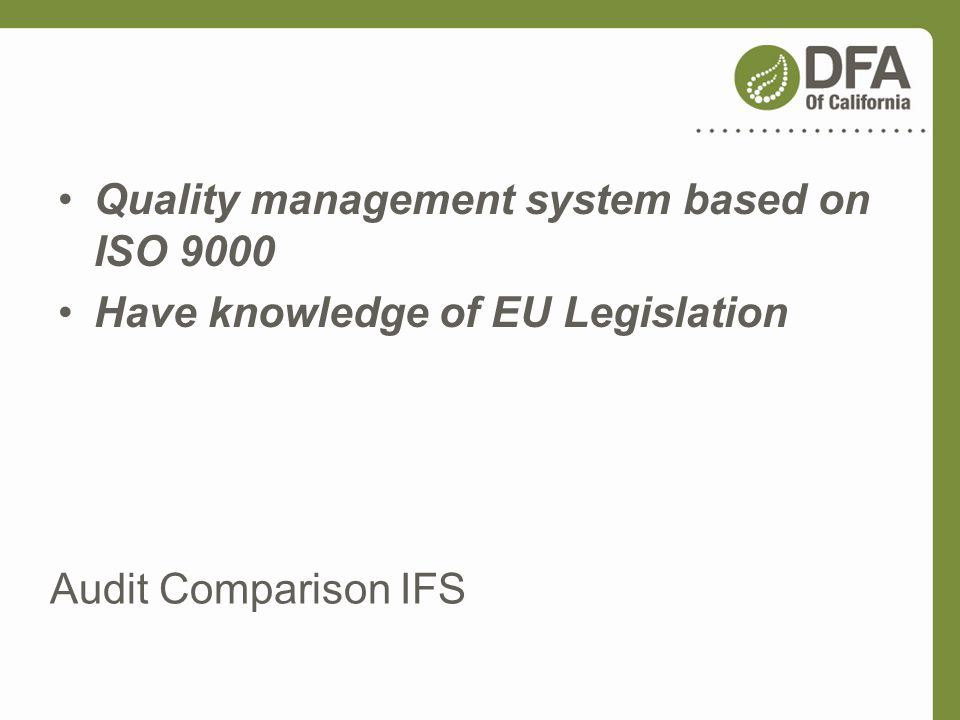 Quality management system based on ISO 9000