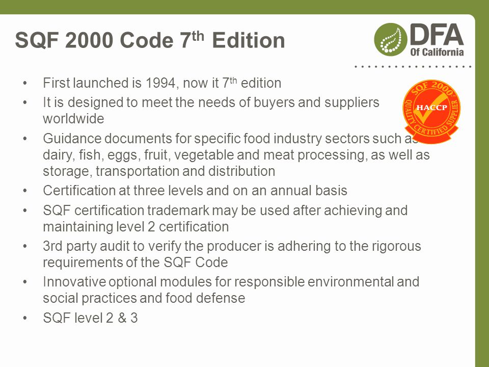 SQF 2000 Code 7th Edition First launched is 1994, now it 7th edition