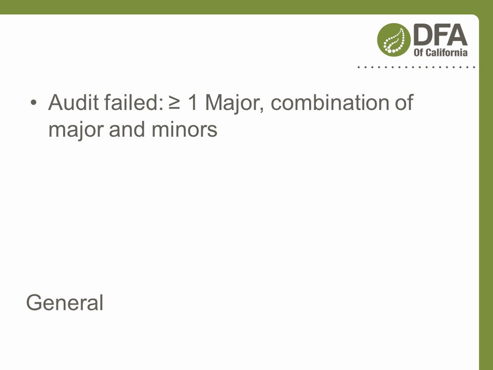 Audit failed: ≥ 1 Major, combination of major and minors