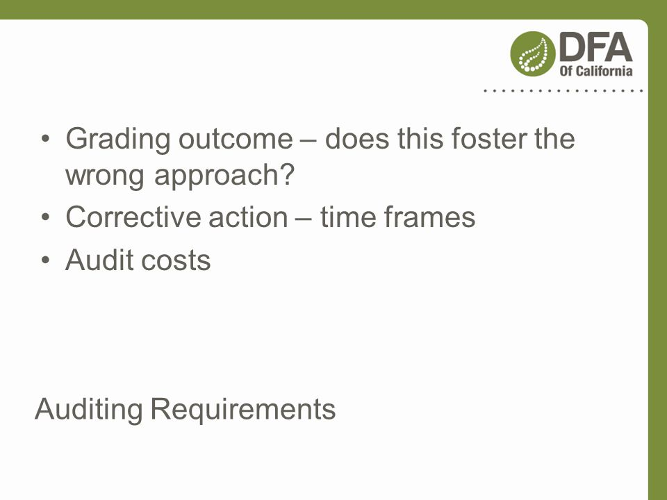 Auditing Requirements