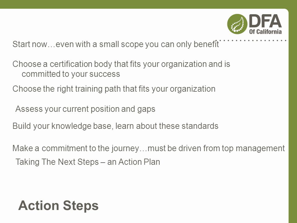 Taking The Next Steps – an Action Plan