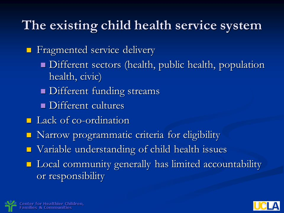 The existing child health service system