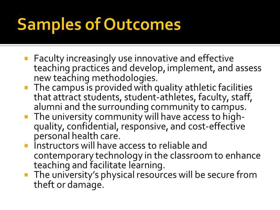 Samples of Outcomes