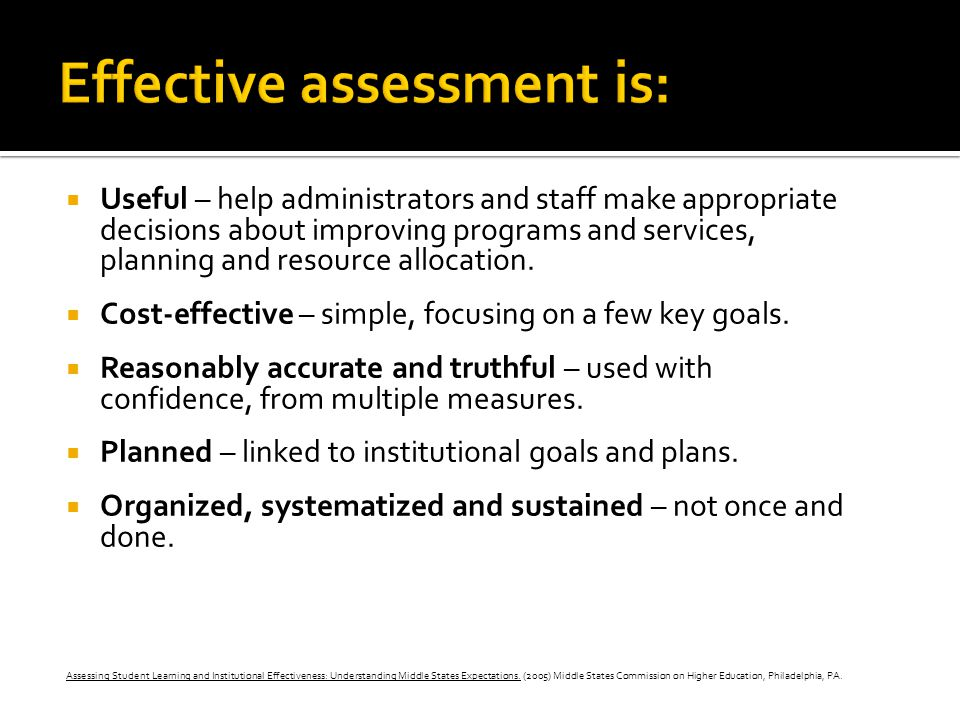 Effective assessment is: