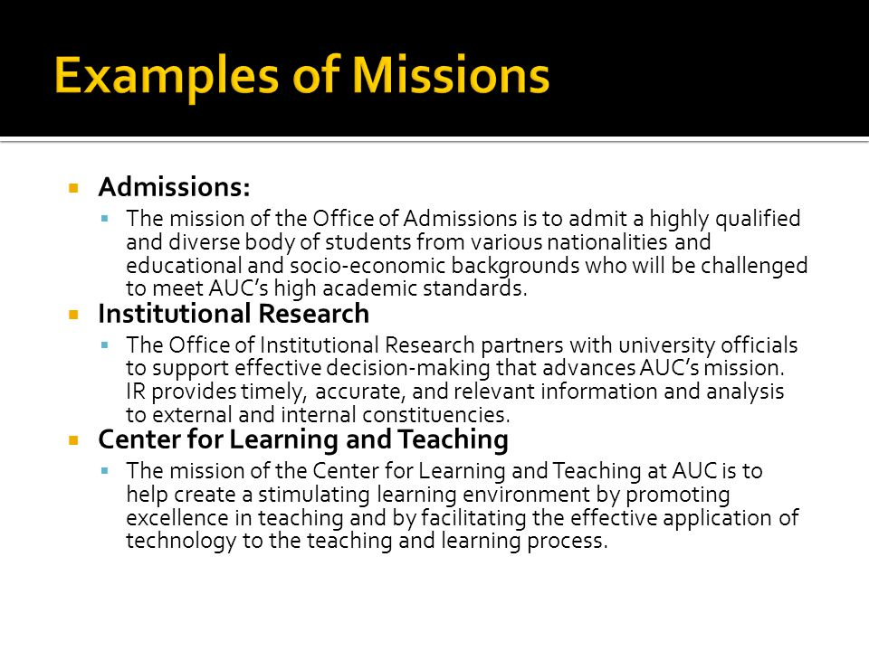 Examples of Missions Admissions: Institutional Research